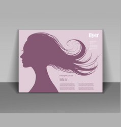 head profile of a beautiful woman with flying hair vector image