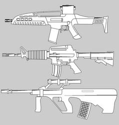Set automatic firearms pistol rifle machine vector