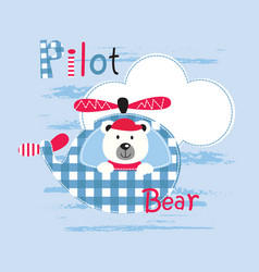 cute with pilot bear vector image