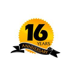 16 years ribbon anniversary vector image vector image