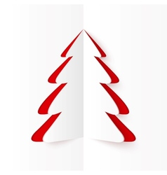White and red cutout paper christmas tree vector