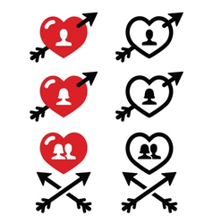 Man and woman couples in Hearts with arrow icons vector image