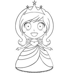 Princess coloring page 1 vector