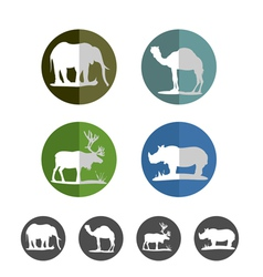Animal flat icons vector