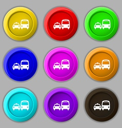 Taxi icon sign symbol on nine round colourful vector