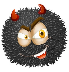Devil face on fluffy ball vector