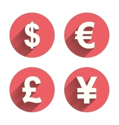 Dollar euro pound and yen currency icons vector