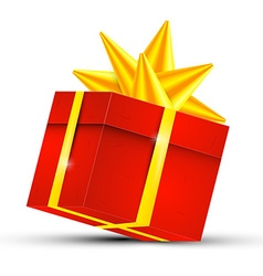 Red gift box with gold ribbon - 3d present box vector