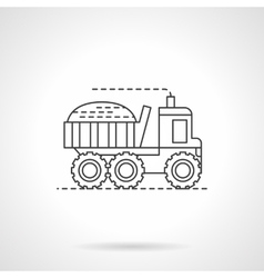 Harvesting truck flat thin line icon vector