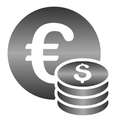 Euro and dollar coins gradient icon vector