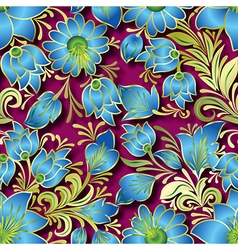Seamless blue floral ornament on pink background vector