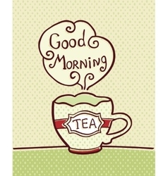 Card with cup of tea on textured background vector