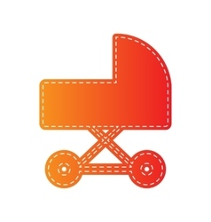 Pram sign  orange applique isolated vector