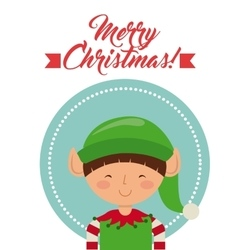 Elf cartoon icon merry christmas design vector