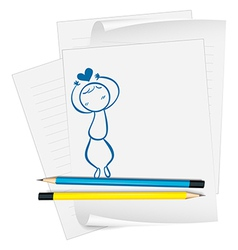 A paper with a drawing of boy with a heart above vector image vector image