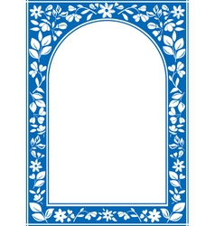 Blue floral arch frame vector