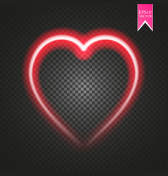 bright neon heart heart sign on dark transparent vector image vector image