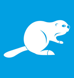 Canadian beaver icon white vector