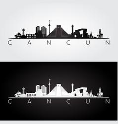 Cancun skyline and landmarks silhouette vector
