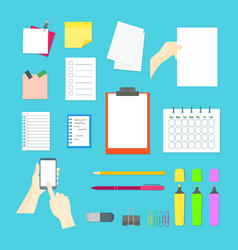 cartoon business color equipment collection vector image vector image