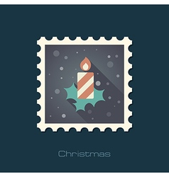 Christmas candle flat stamp vector