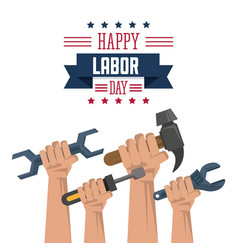 colorful poster of happy labor day with hands vector image vector image