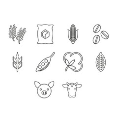 Commodities icon set vector