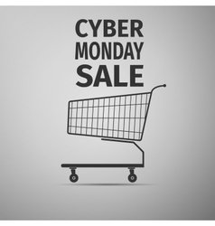 Cyber monday sale shopping cart flat icon on grey vector
