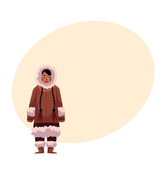 Eskimo inuit woman in warm winter clothes with vector