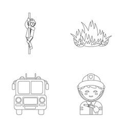 Fireman flame fire truck fire departmentset set vector