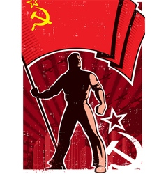 Flag bearer poster ussr vector