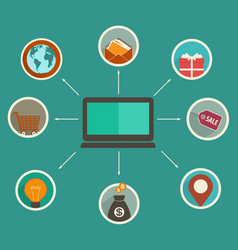 flat design online finance app vector image vector image