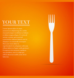Fork flat icon on orange background vector