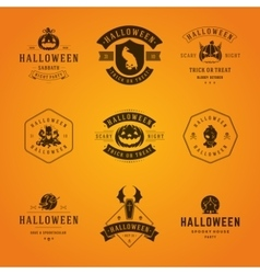 Halloween badges and labels greetings cards vector
