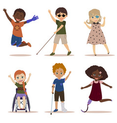 Happy and active children with disabilities vector