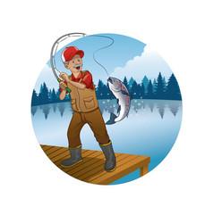 Old man cartoon fishing trout fish vector