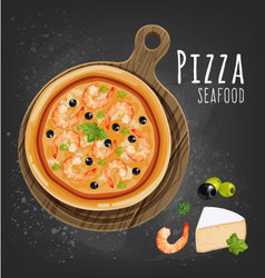 Pizza seafood vector