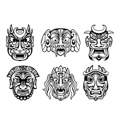 Religious masks in tribal style vector