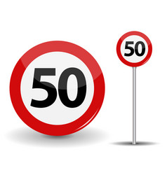 round red road sign speed limit 50 kilometers per vector image vector image