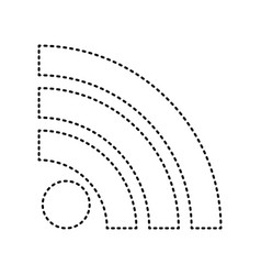 Rss sign black dashed icon vector