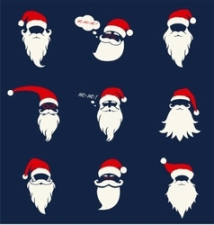 Santa hats mustache and beards vector image vector image