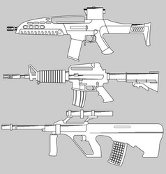 Set automatic firearms pistol rifle machine vector