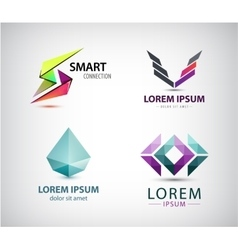 Set of abstract logos company icons vector