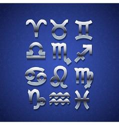 Silver zodiac symbol icons vector