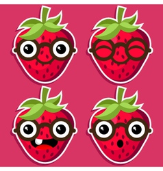 Smart Strawberries with Eyeglasses vector image