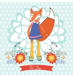 So foxy elegant concept card with fox character vector image vector image