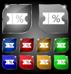Ticket discount icon sign set of ten colorful vector