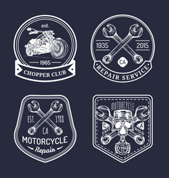 vintage biker club signs motorcycle repair vector image vector image