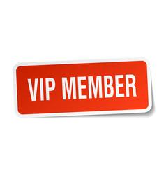 Vip member square sticker on white vector