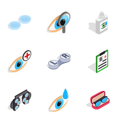Vision icons isometric 3d style vector